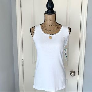 Jones New York White Cotton Lace Camisole NWT